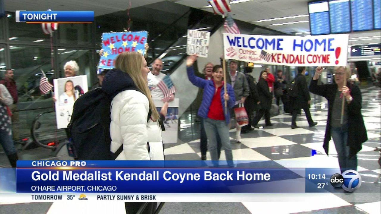 Olympic gold medalist Kendall Coyne returned to home to suburban Palos Heights Wednesday.