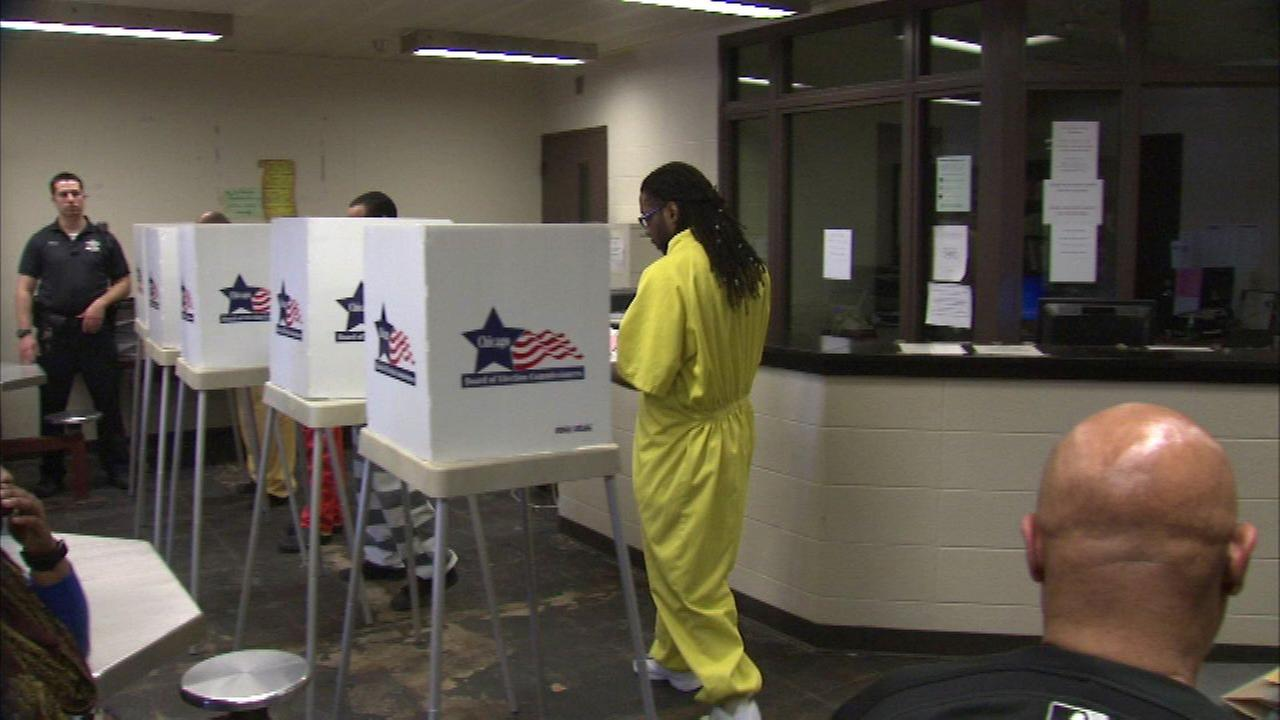 Inmates at Cook County Jail participated in the first jail-wide, in-person voting at the facility Saturday.