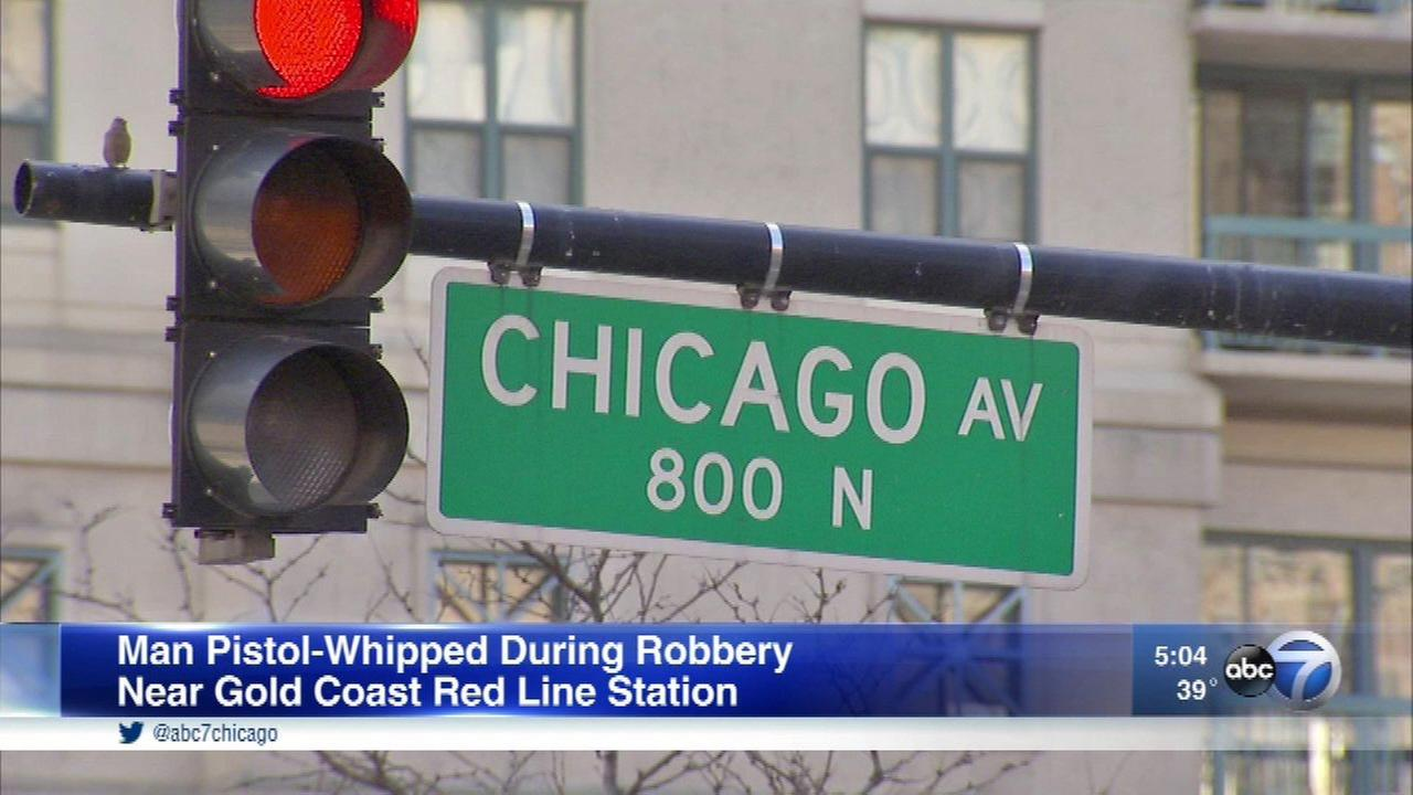 A man was pistol whipped during a robbery in Chicagos Gold Coast neighborhood Sunday.