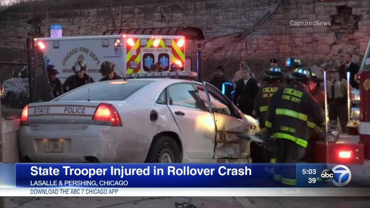 A State Trooper was injured in a rollover crash Sunday.