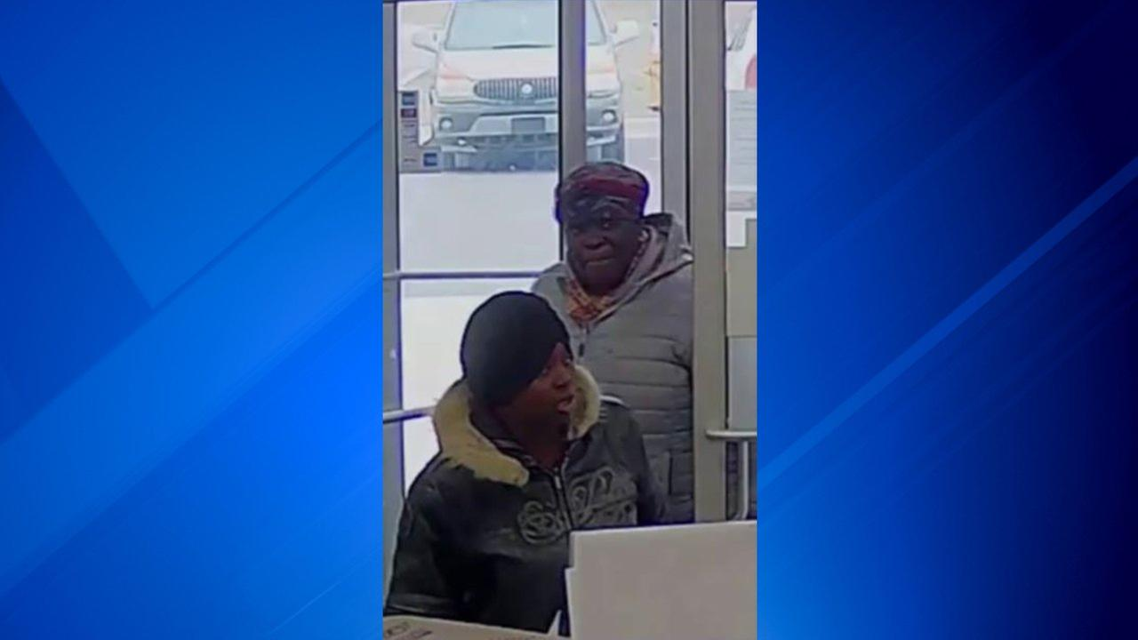 A surveillance image of suspects wanted in connection with four thefts in Hammond.