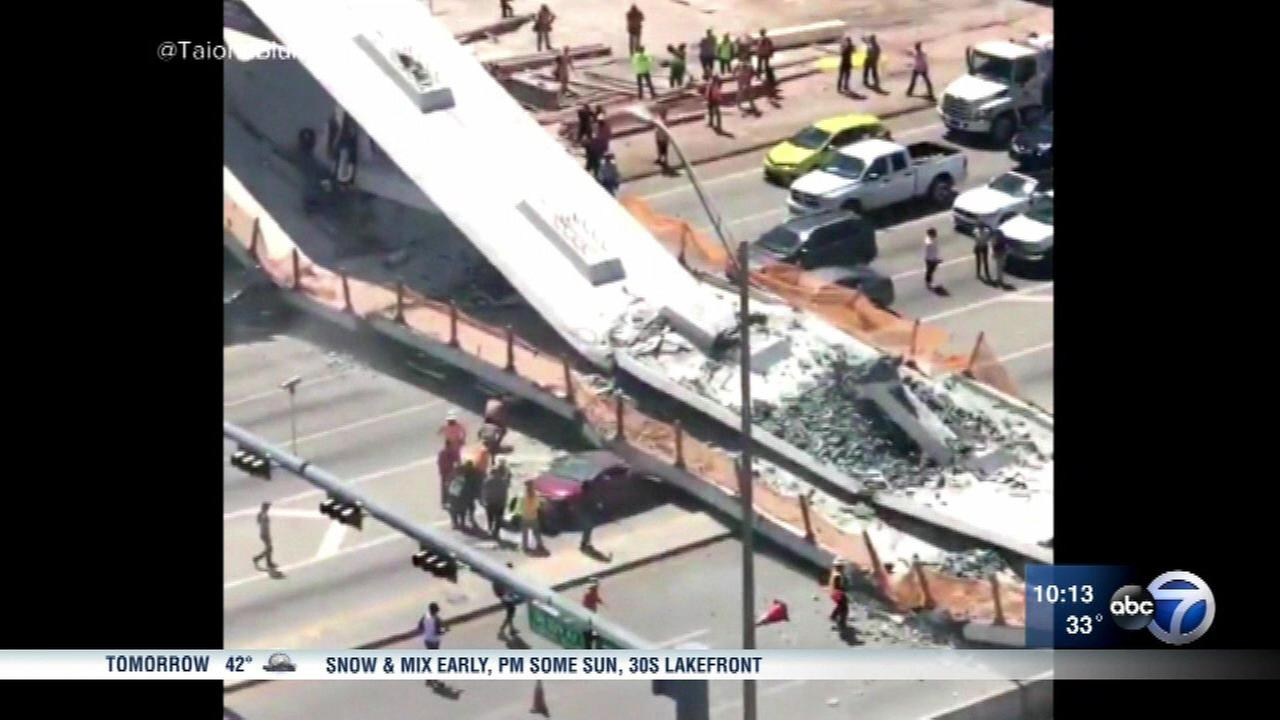 A bridge collapsed in Miami Thursday.
