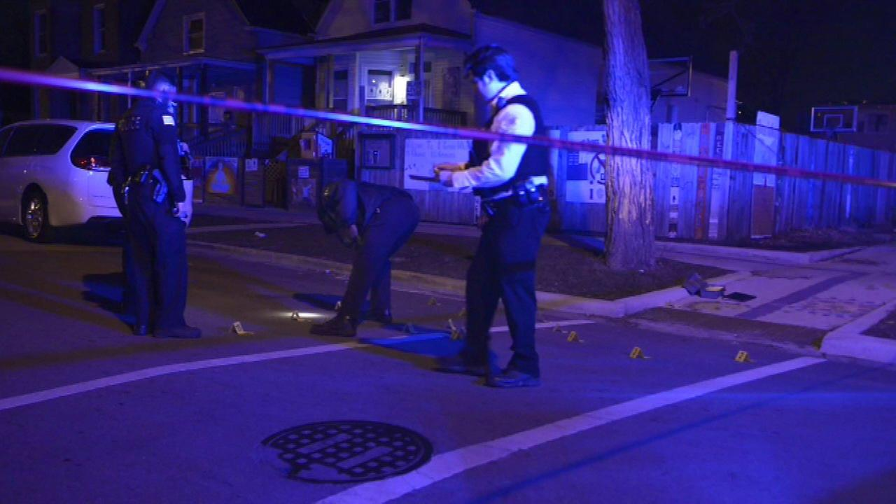 Chicago police investigate a shooting in the 6400-block of South Honore Street near the Peace House community center.