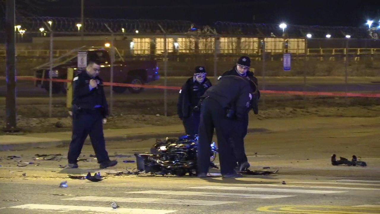 Two people were killed after a motorcycle hit a semi truck near 41st Street and Pulaski Road Friday morning.