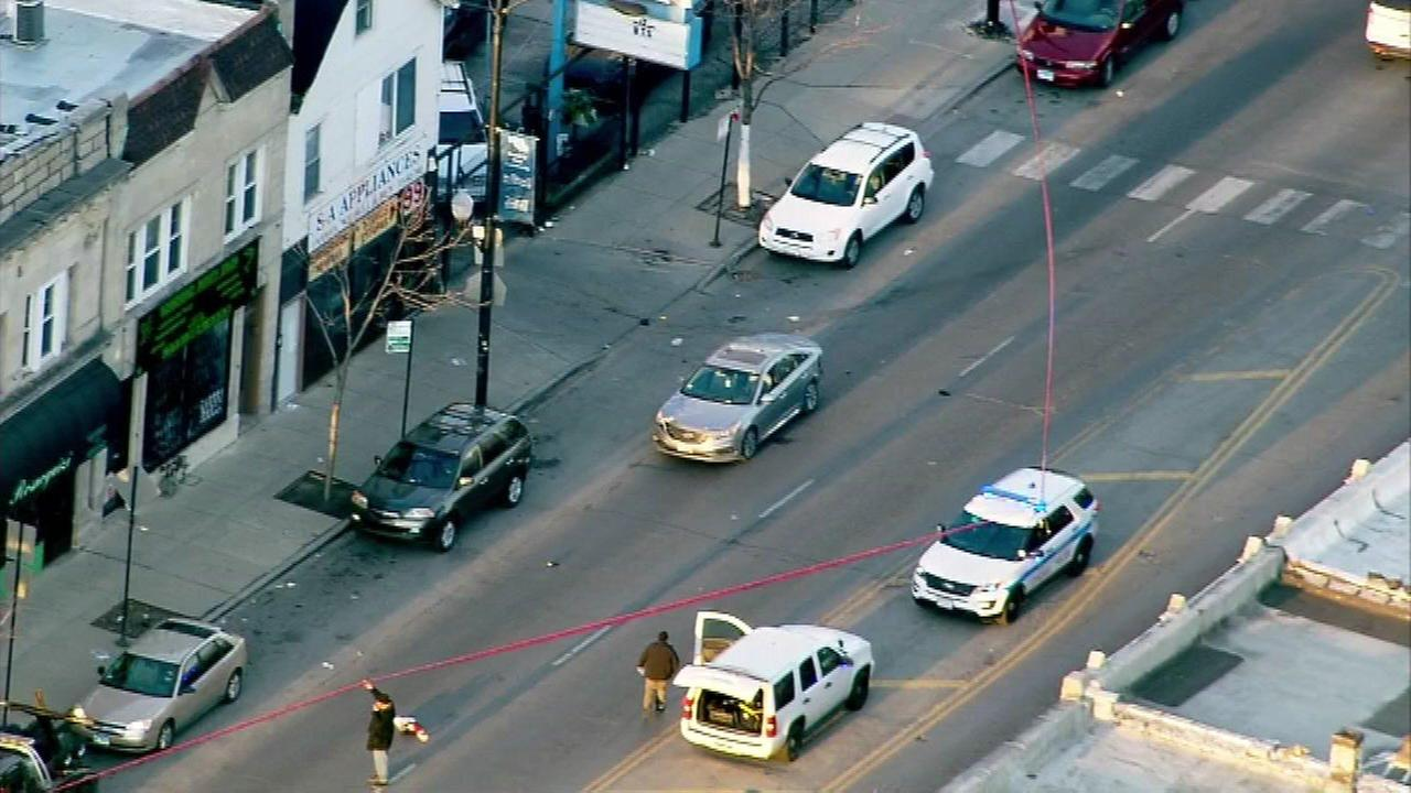 Chicago police investigate after a pedestrian was struck near North and Keeler avenues Monday morning.