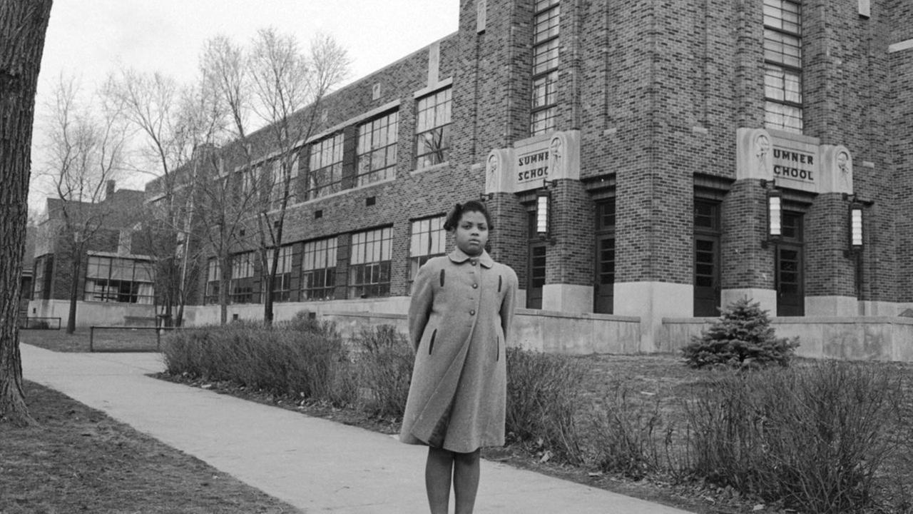 Linda Brown outside Sumner Elementary School in Topkea, Kansas, in 1953.