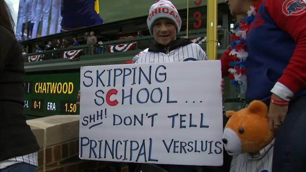 Boy playing hooky runs into principal at Cubs home opener