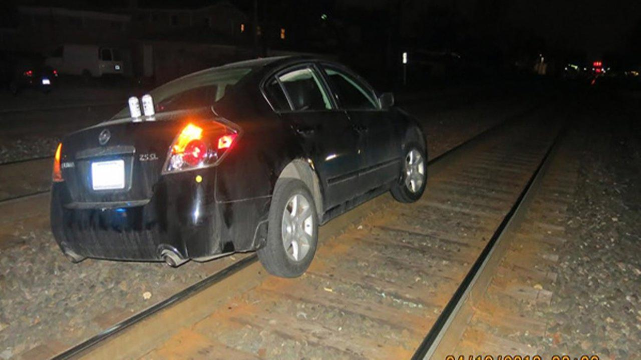 Esteban Garcia-Ortiz was arrested for DUI after his car got stuck on a railroad track Thursday.