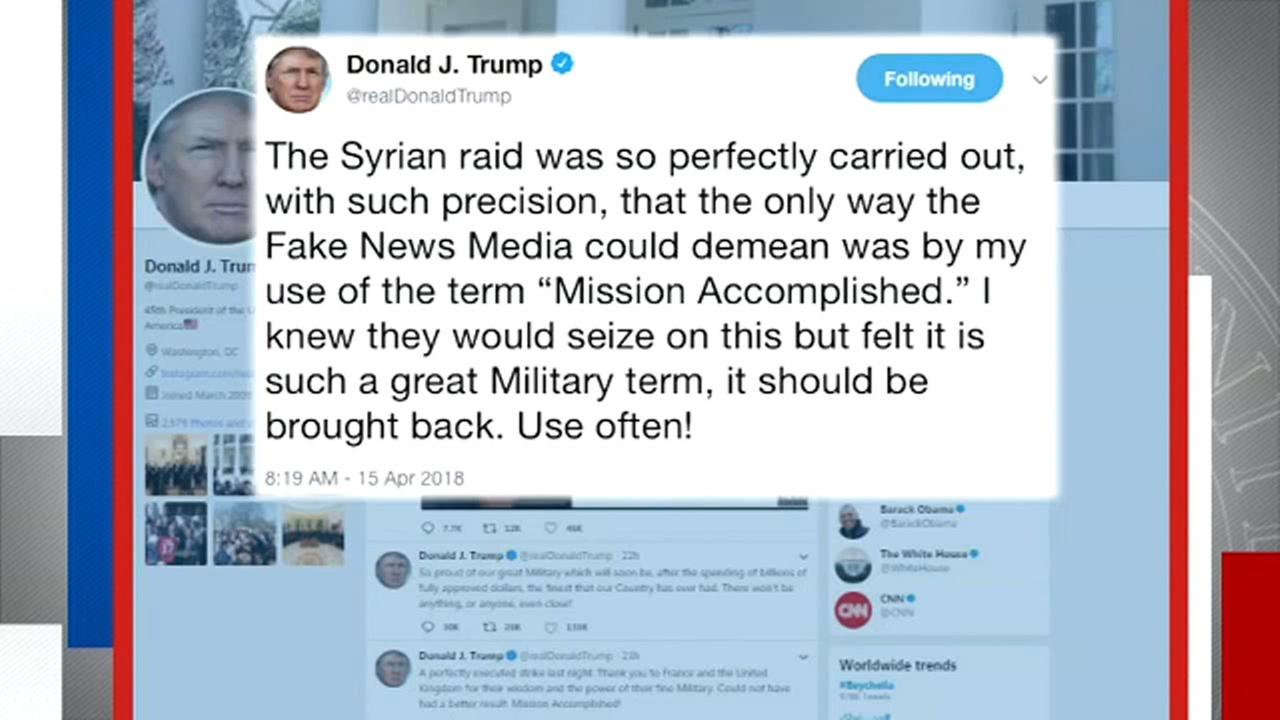 President Donald Trump threatened sanctions against Russia Sunday and defended his characterization of the strike against Syria.