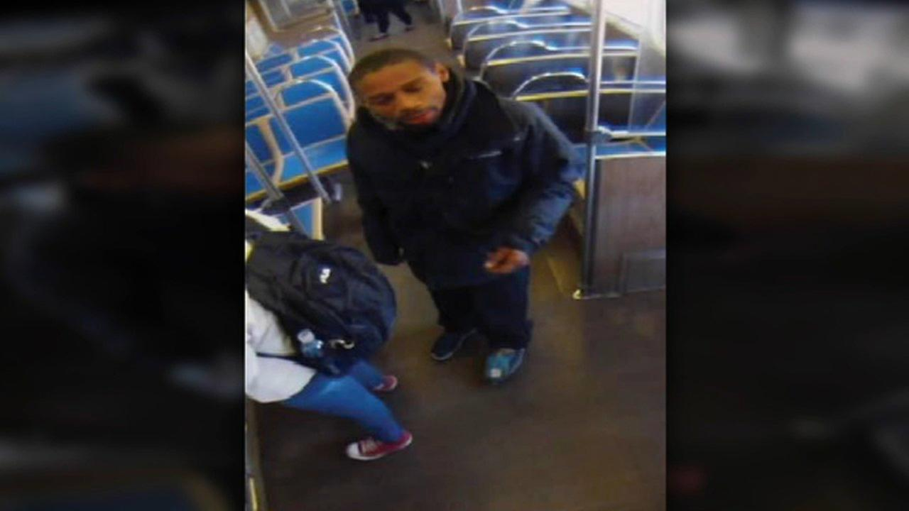 A surveillance photo shows a man suspected of pushing a woman onto the tracks at the Western Blue Line CTA station.