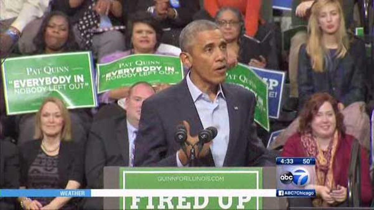 President Barack Obama campaigns for Governor Pat Quinn at Chicago State University.