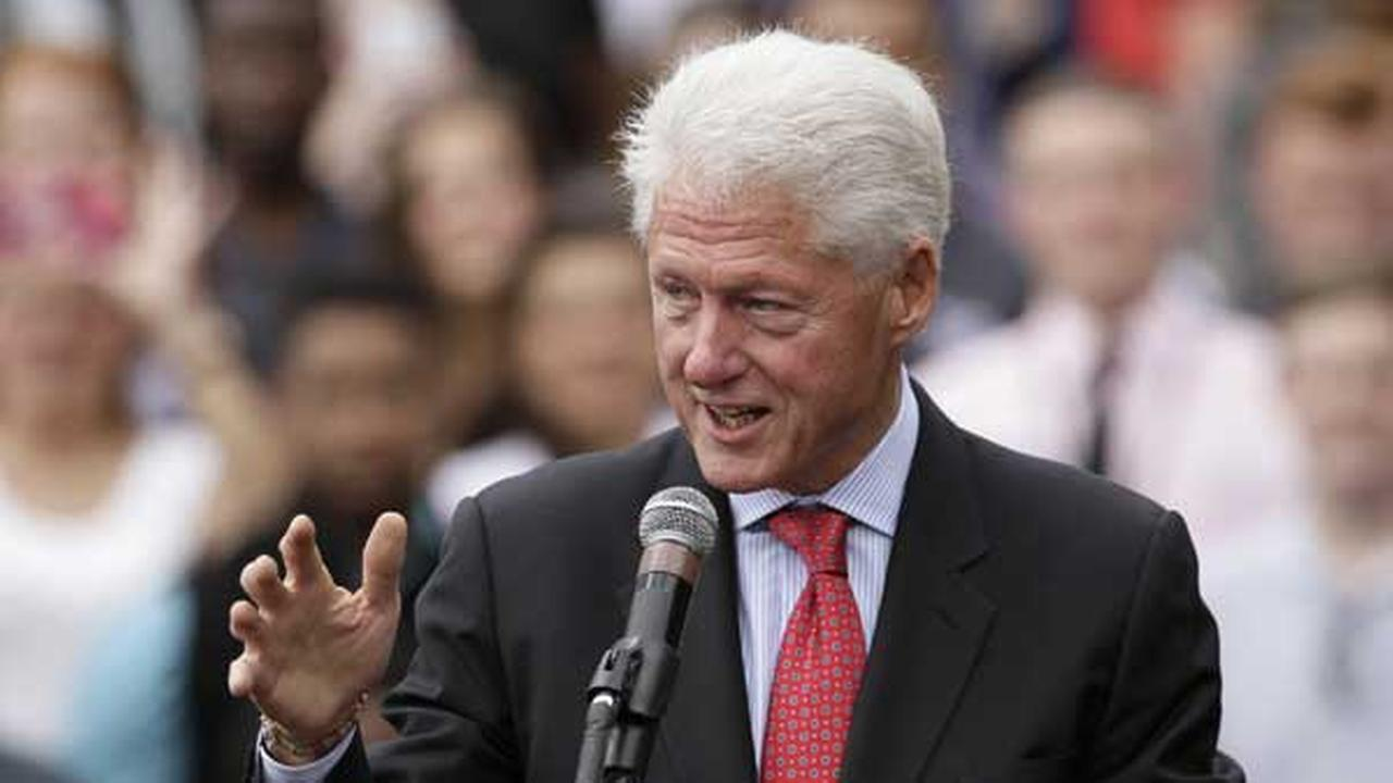 Former President Bill Clinton speaks at a political rally at the University of Central Arkansas in Conway, Ark.