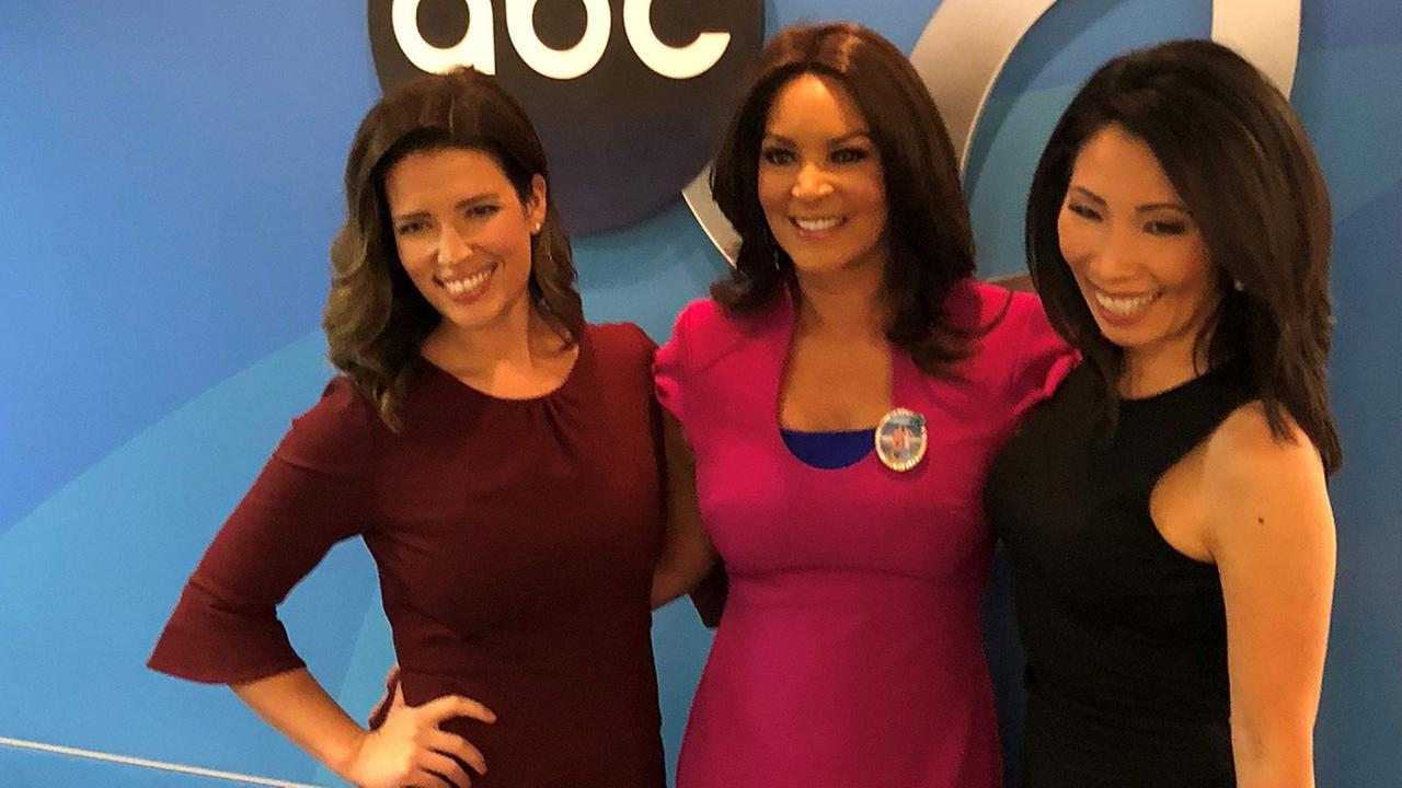 ABC7 Eyewitness News anchors Tanja Babich, Cheryl Burton, and Judy Hsu.