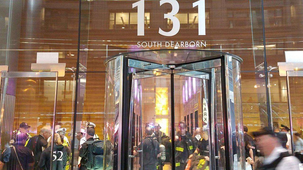 The Chicago Fire Department responds to a suspicious package at 131 South Dearborn Street.