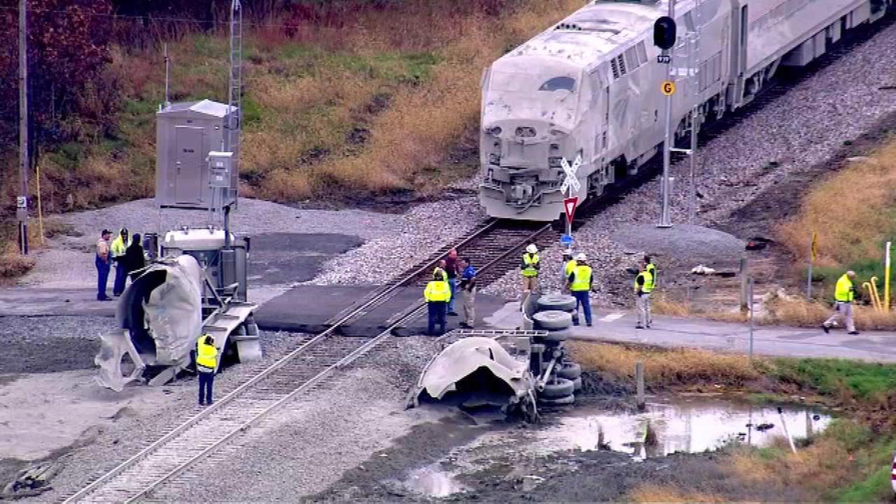 A Chicago-bound Amtrak train collided with a semitrailer in northwest Indiana.