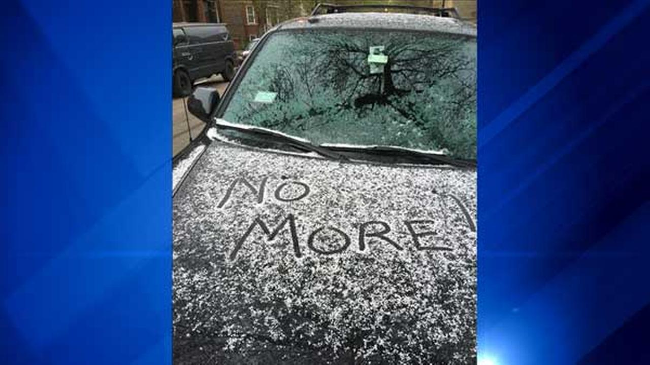 An ABC7 viewer from Chicagos Ukrainian Village neighborhood captured a sentiment many people may share about snow falling in late April.