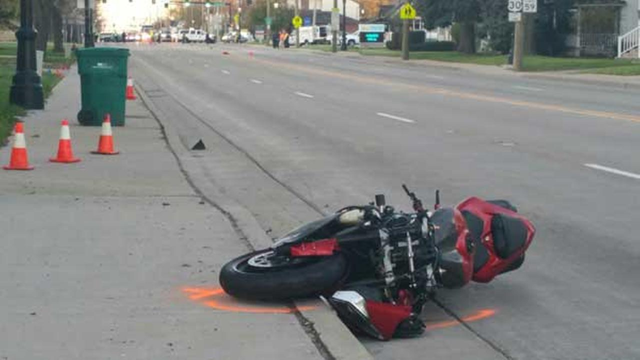 Two people were killed in a crash in southwest suburban Plainfield after police said a man on a motorcycle lost control and struck a pedestrian.