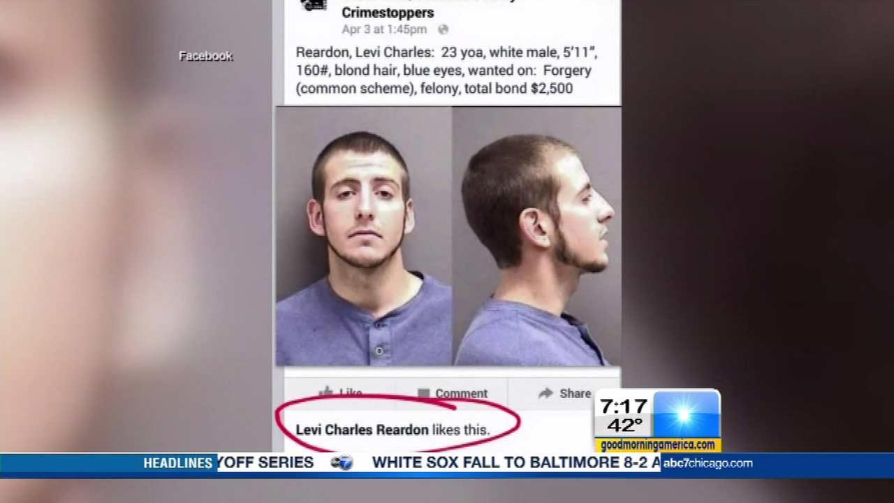 Man caught after liking own mugshot on Crimestoppers page