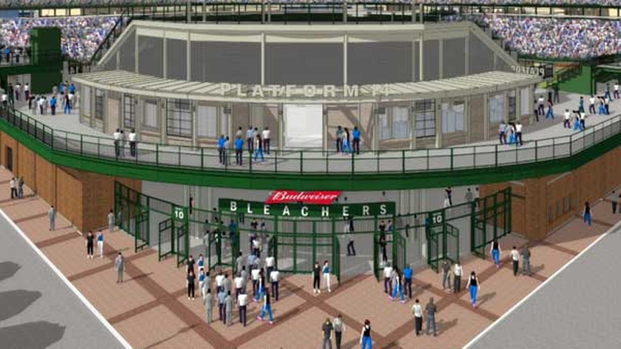 A rendering of what Platform 14 will look like once bleacher renovations are complete at Wrigley Field.