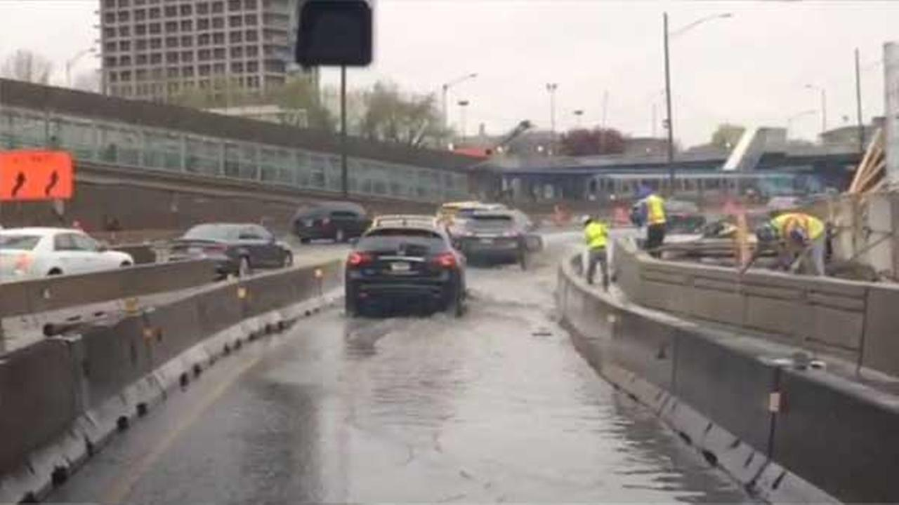 Traffic on inbound Kennedy Expressway was at a crawl around 9 a.m. because of standing water on the off-ramp to the outbound Eisenhower Expressway.