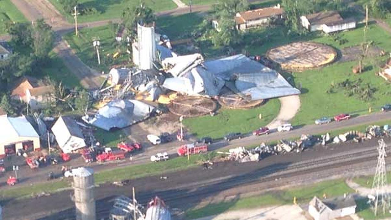 A tornado touched down in the small town on Cameron, Illinois, which is about 200 miles southwest of Chicago.