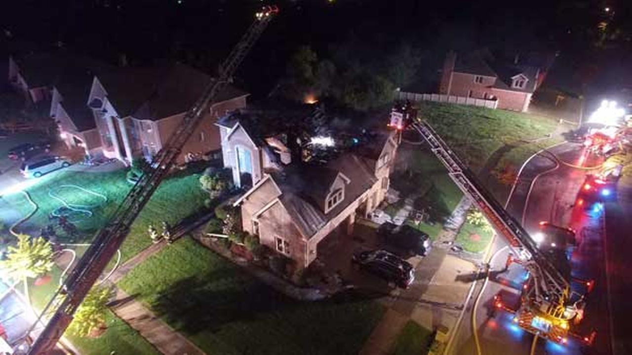 Lightning may have caused a house fire in south suburban Orland Park, police said.