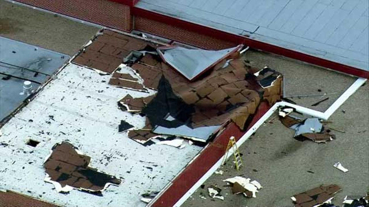 Storm damage at Grayslake Central High School in Lake County.