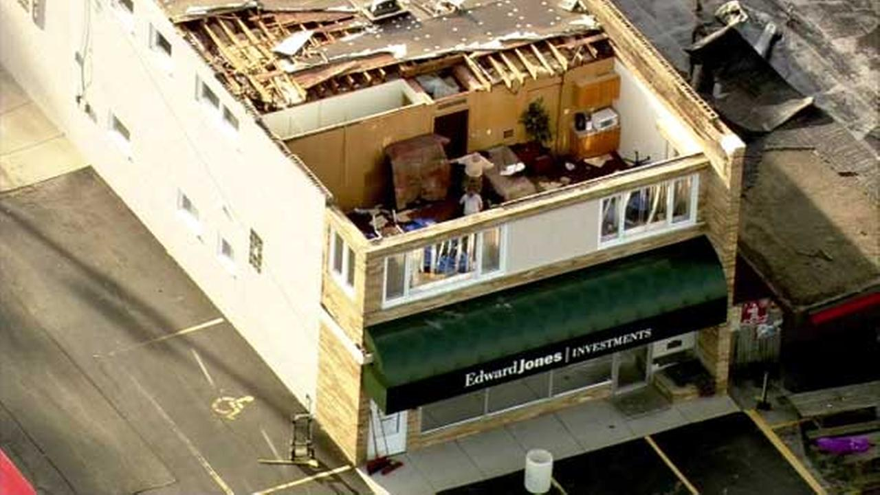 The roof of a business in north suburban Grayslake was torn off during a severe storm.