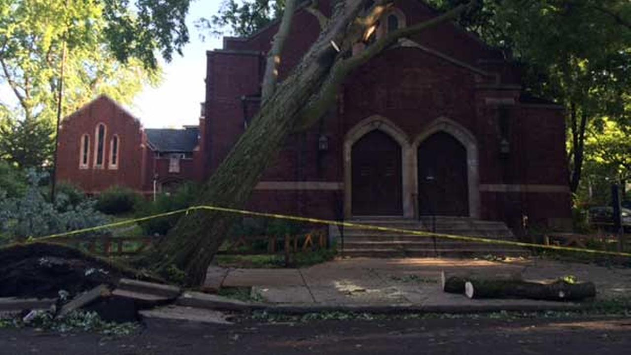 Storm damage at Rogers Park Baptist Church in Chicago.