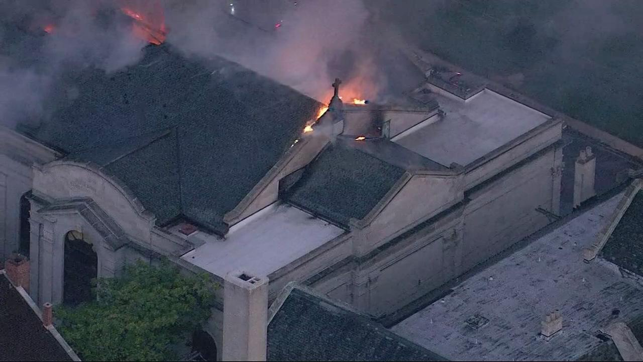 Raw Video: Church Fire from Chopper 7HD