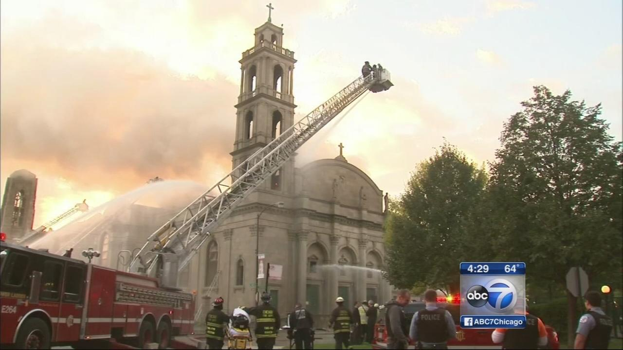 Historic church burns