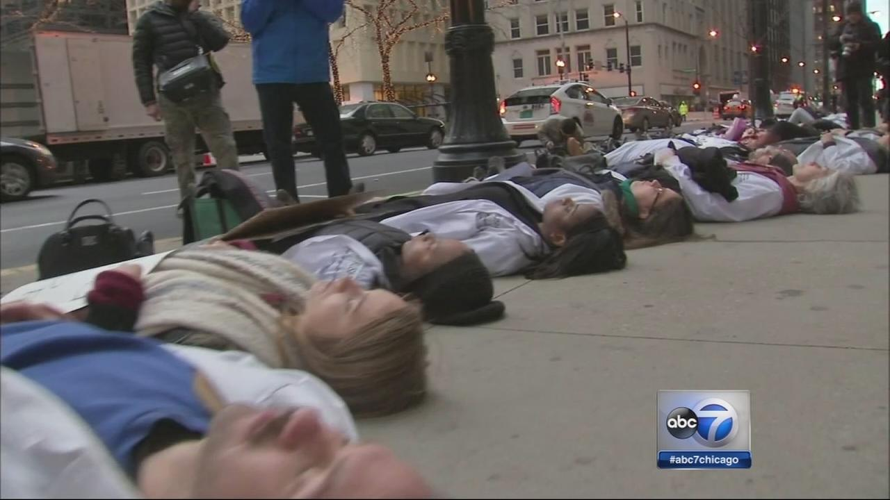 Med students stage die-in