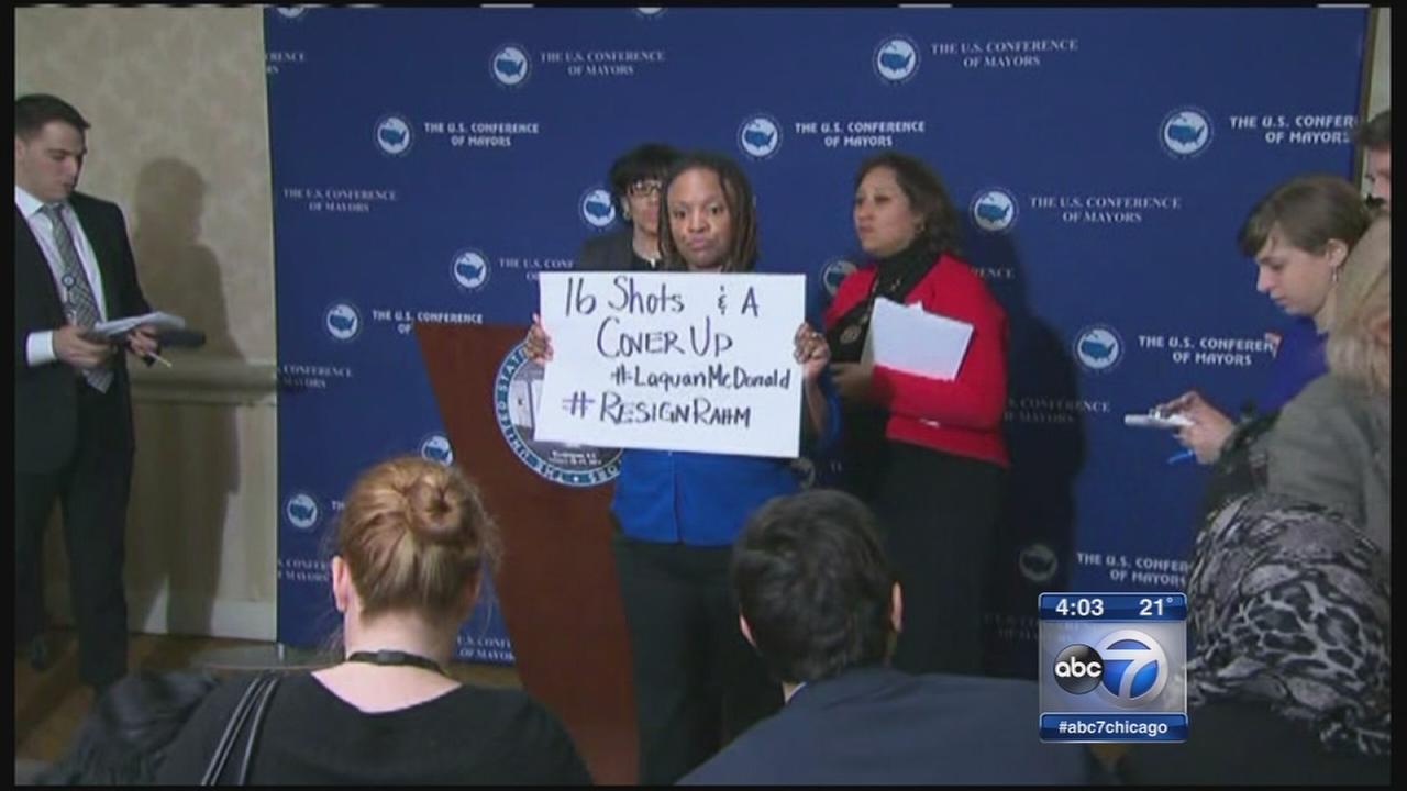 Emanuel protester holds sign in Washington
