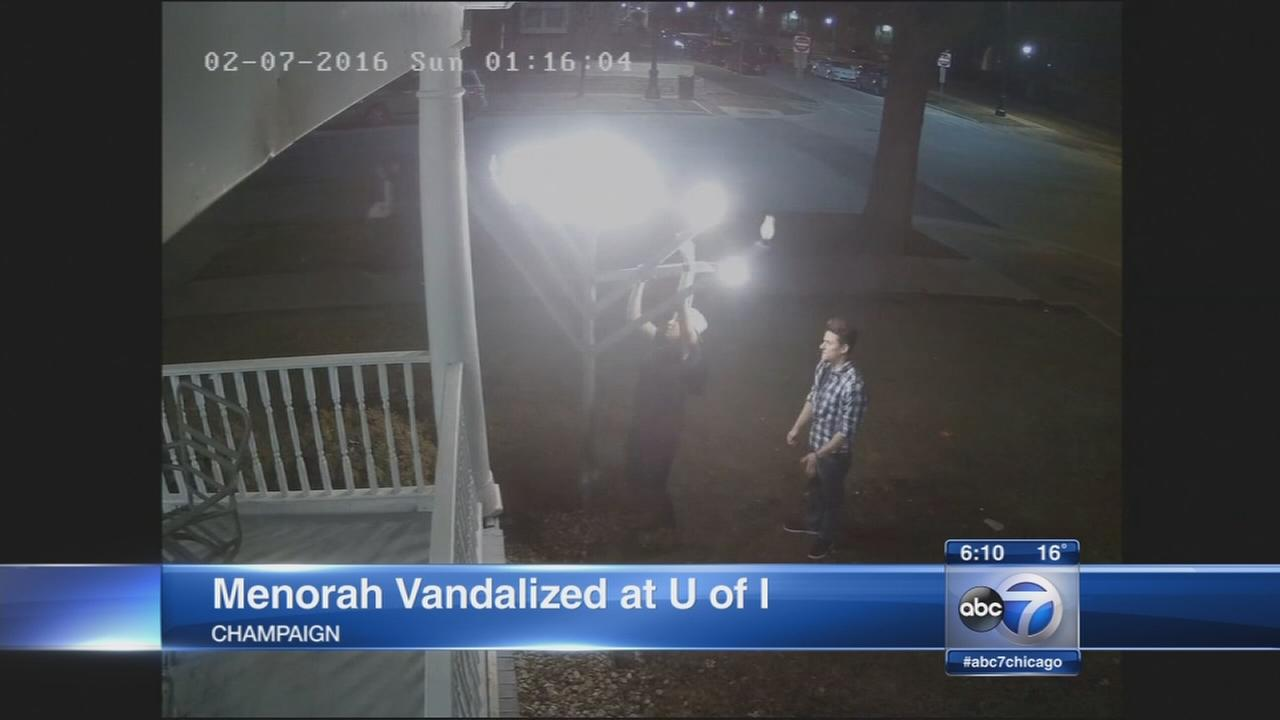 Woman charged with vandalizing U of I menorah