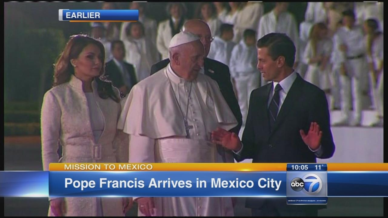 Pope arrives in Mexico
