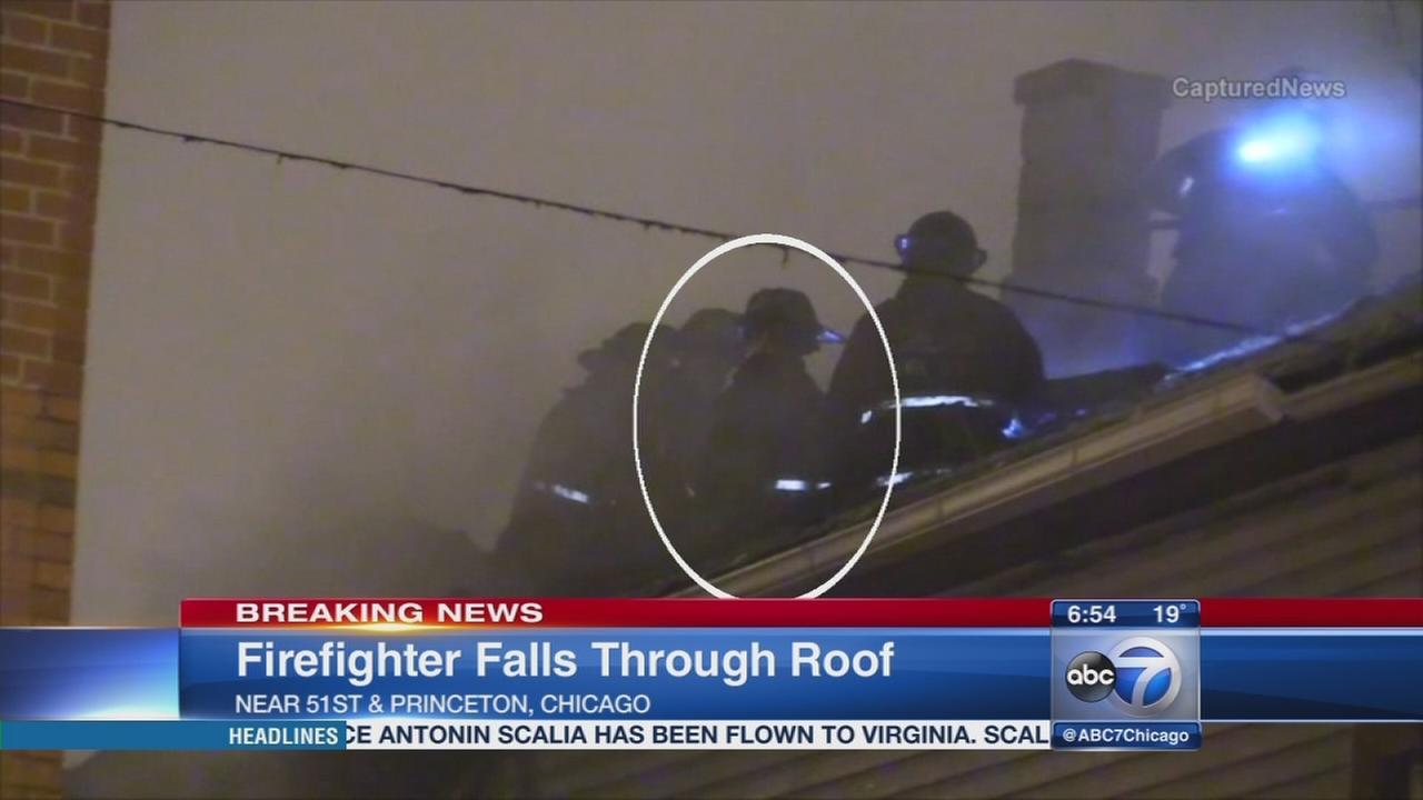 Firefighter falls through roof
