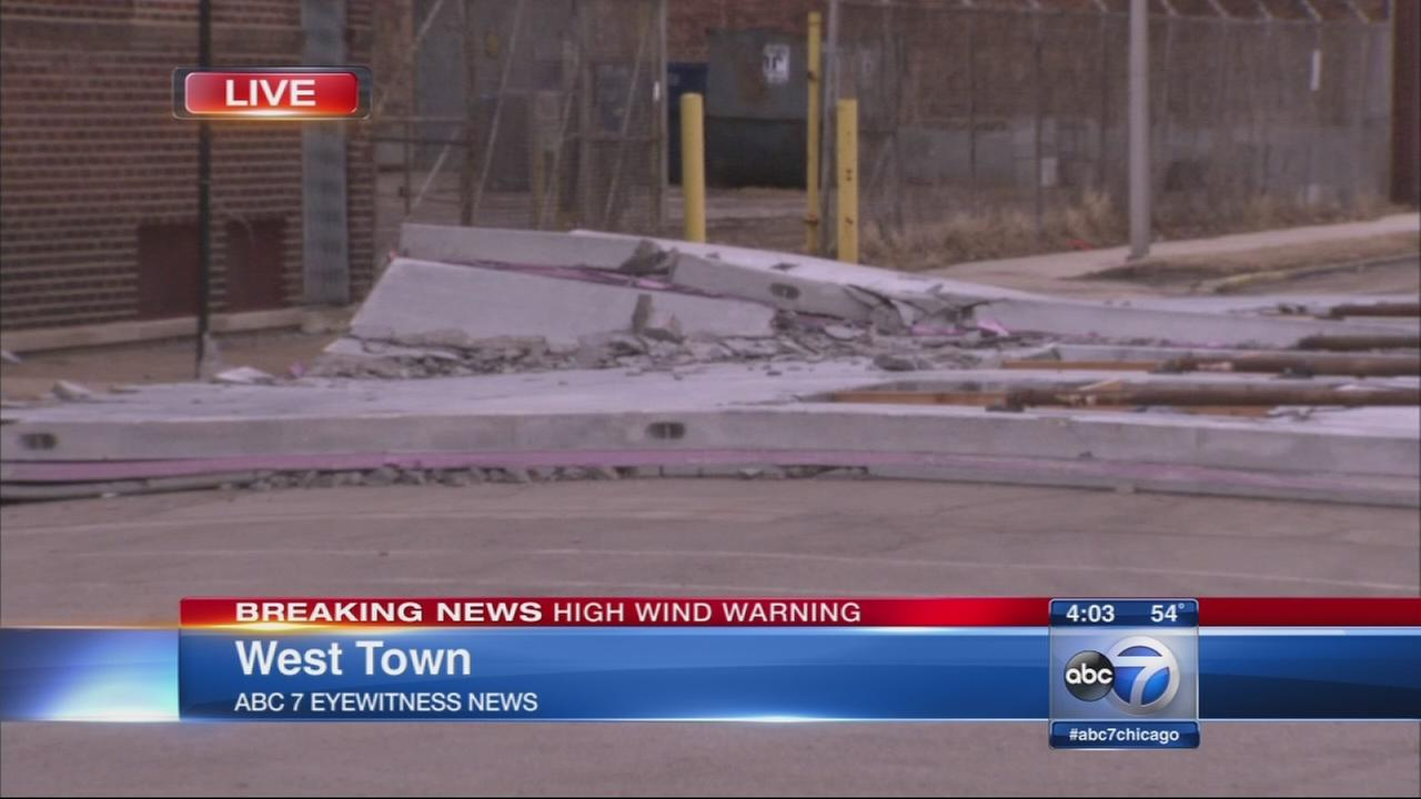 Partial building collapse at construction site in West Town