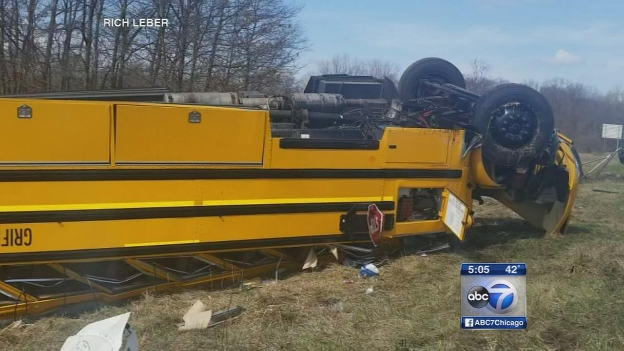 School bus overturns in Indiana