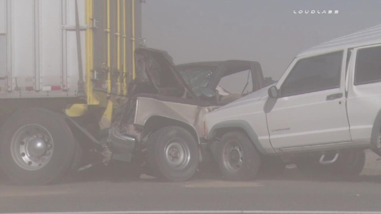 Dust storm causes 15 vehicle pile up