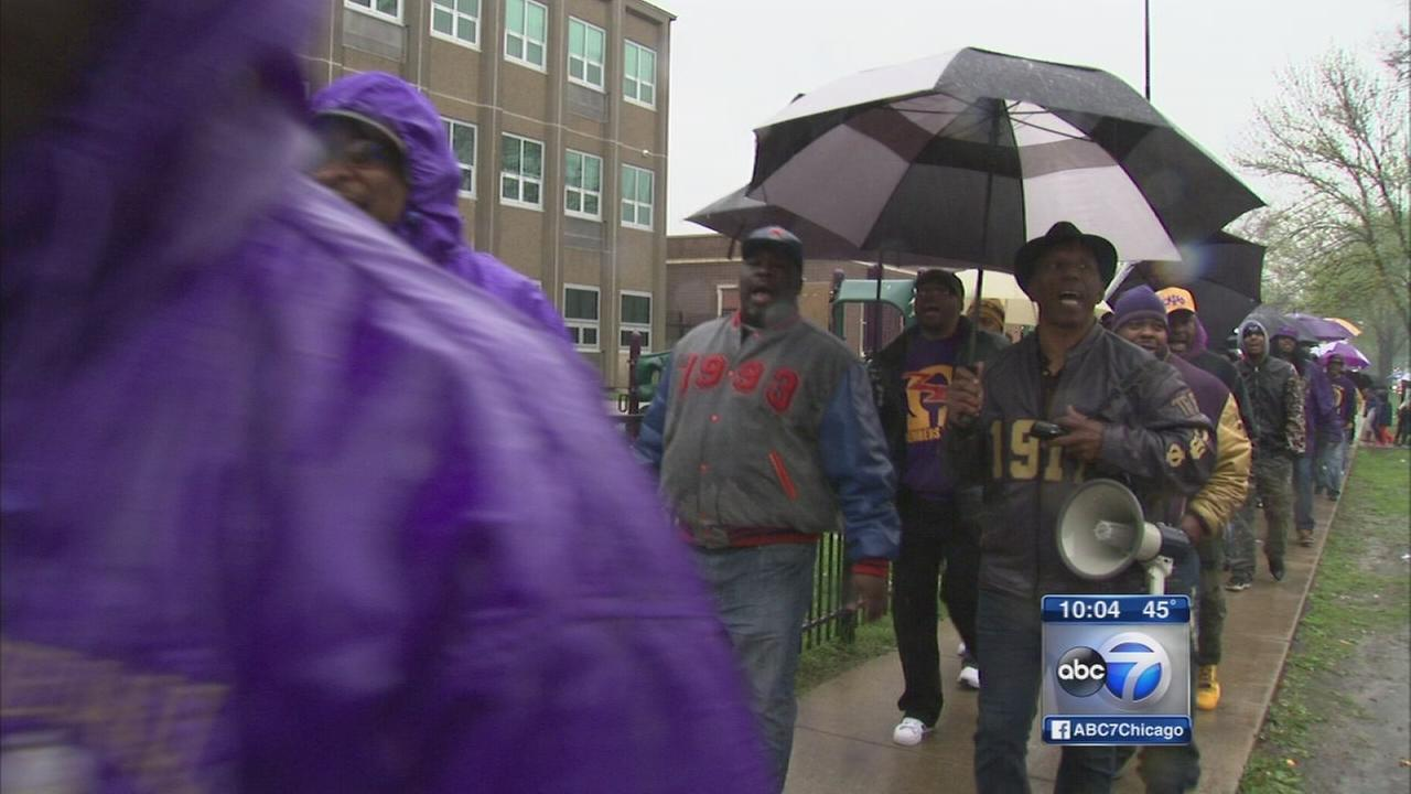 Fraternity marches for Tiara Parks