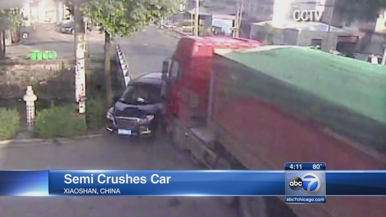 Semi-truck crushes car