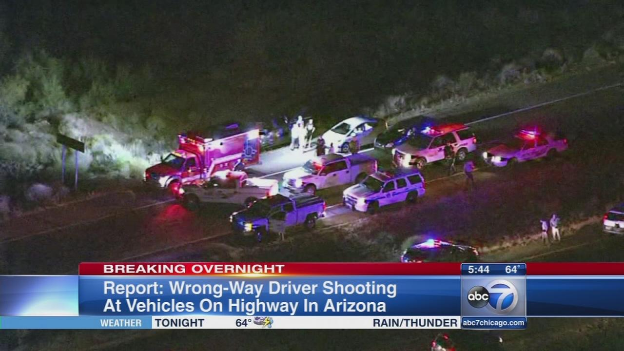 Wrong way driver shot at vehicles in Phoenix