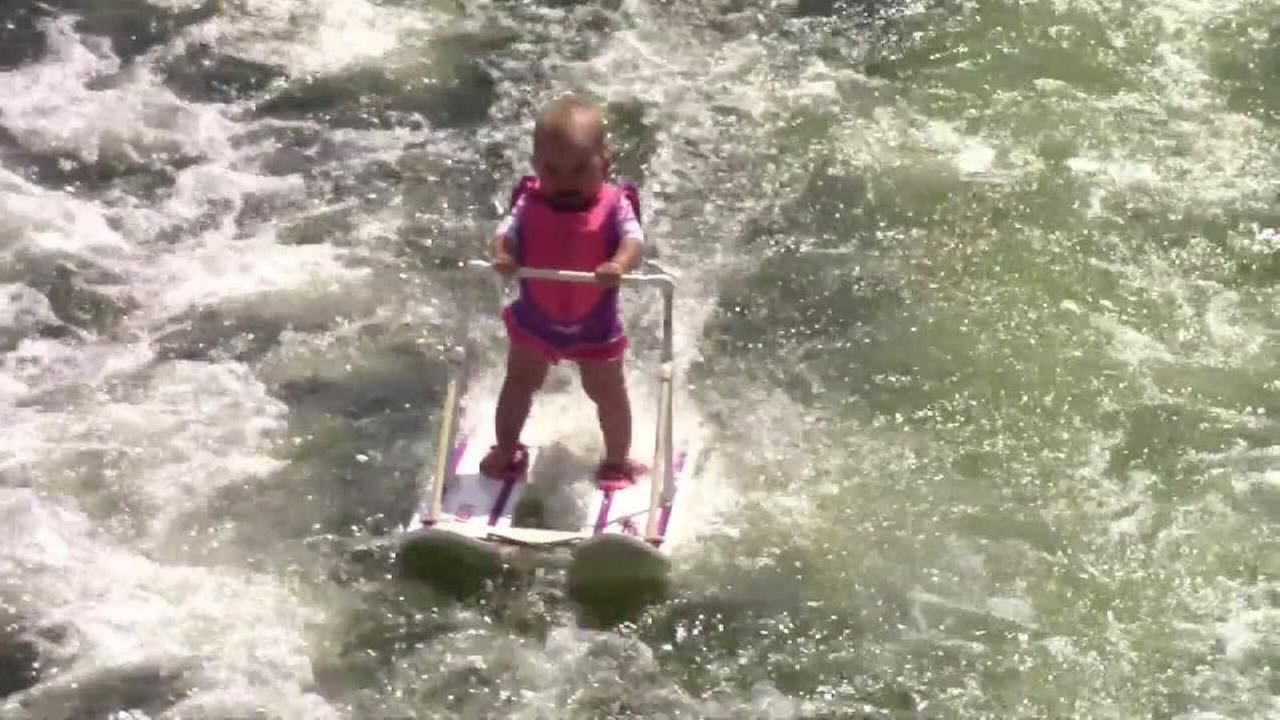 Worlds youngest skier? Baby water skis in video
