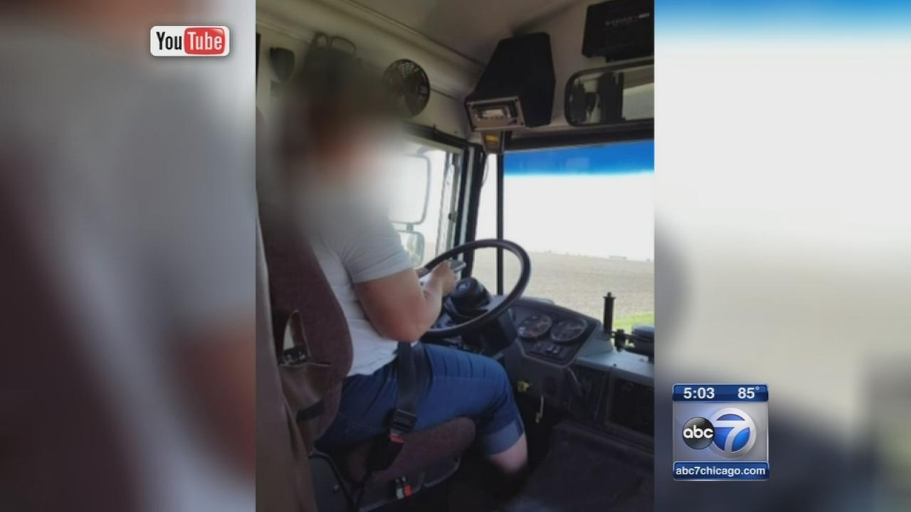 School bus driver caught texting behind the wheel