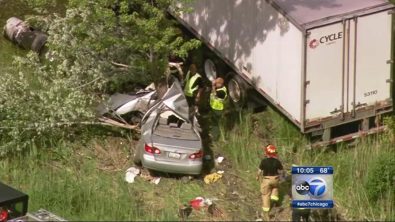 1 killed after car, semi collide and crash into home