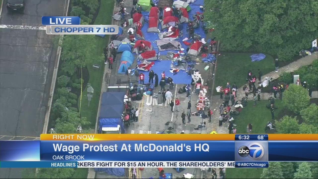 Wage protest at McDonalds HQ