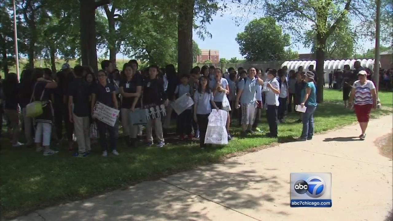 Students hold ?peace walk into summer? in Bridgeport