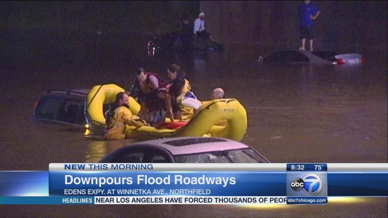 Flood water on Edens receding