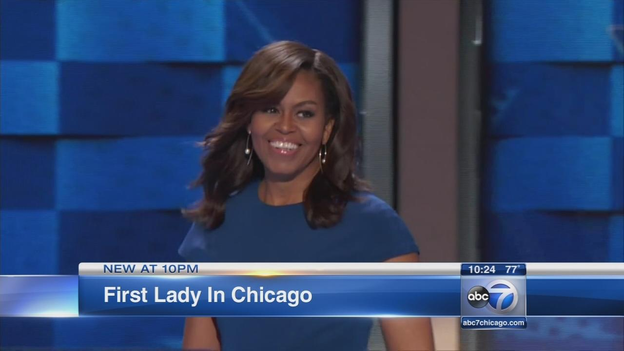 Michelle Obama in Chicago after DNC speech