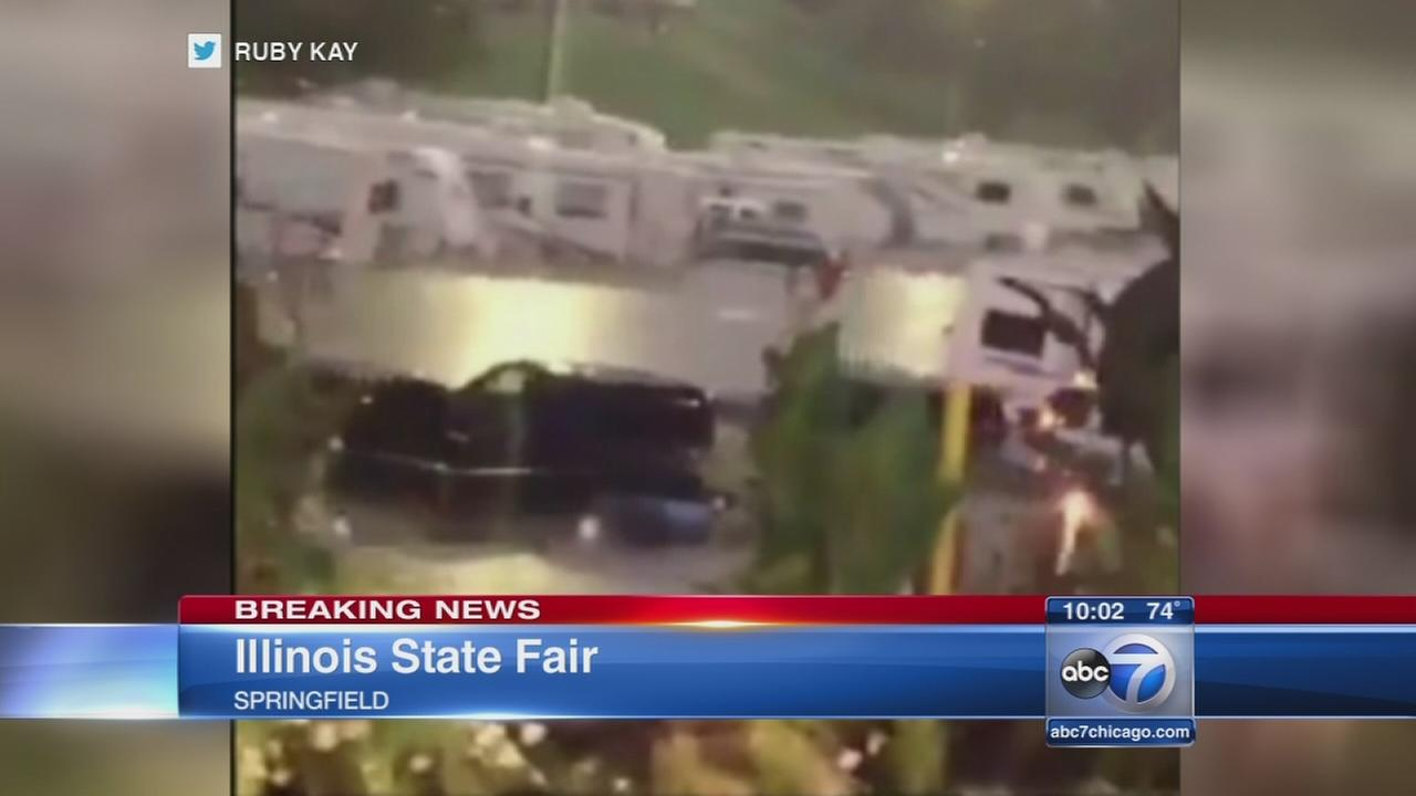 Heavy rain causes some damage, Illinois State Fair closes for flooding